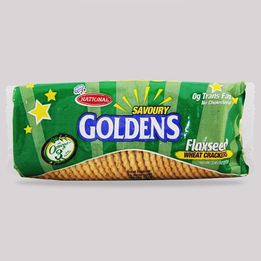 Picture of National Goldens Flaxseed Wheat Crackers ( Roll Pack 112g)