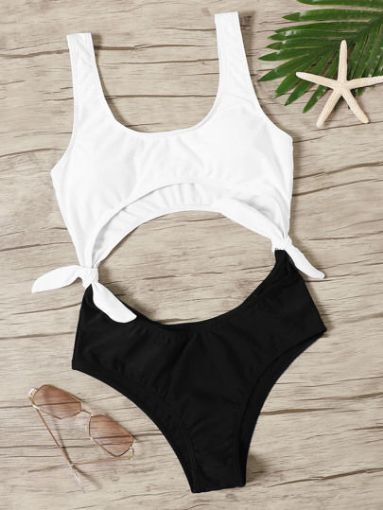 Picture of Black and White Tied & Sided Monokini