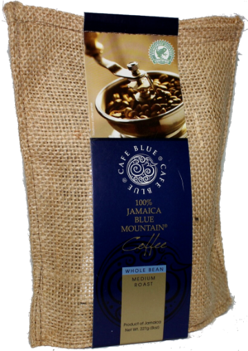 Picture of Jamaican Blue Mountain Coffee Whole Bean Medium Roast Cafe Blue (227 g/ 8oz)