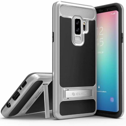 Picture of Samsung Galaxy S9 Plus Hybrid Cover with Kickstand and UV Coated PC & TPU Layers, Matte Black/Silver